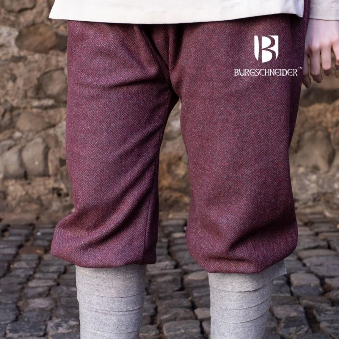 Burgschneider Viking spodnie w jodełkę motyw Tilda, bordowo-szary