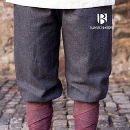 Viking trousers herringbone motif Tilda, black-grey