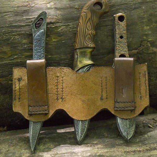 Epic Armoury Supporto per coltelli da lancio LARP marrone, incl. 3 coltelli