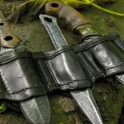 Uchwyt do noży do rzucania LARP czarny, w tym 3 noże