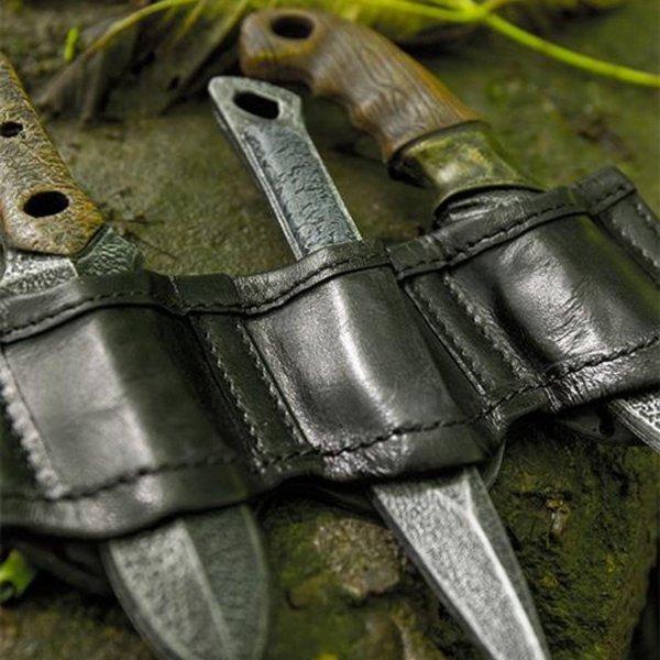 Epic Armoury Uchwyt do noży do rzucania LARP czarny, w tym 3 noże