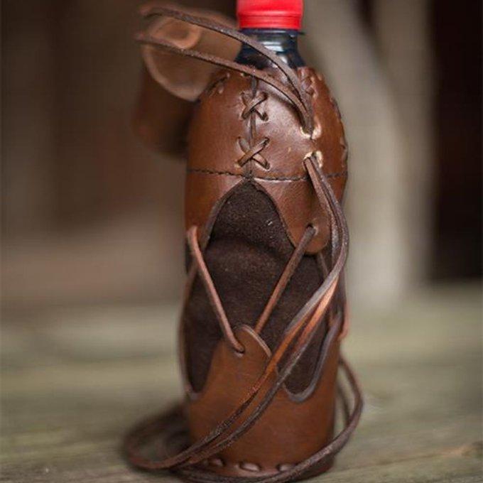 Houder voor plastic drinkfles, bruin