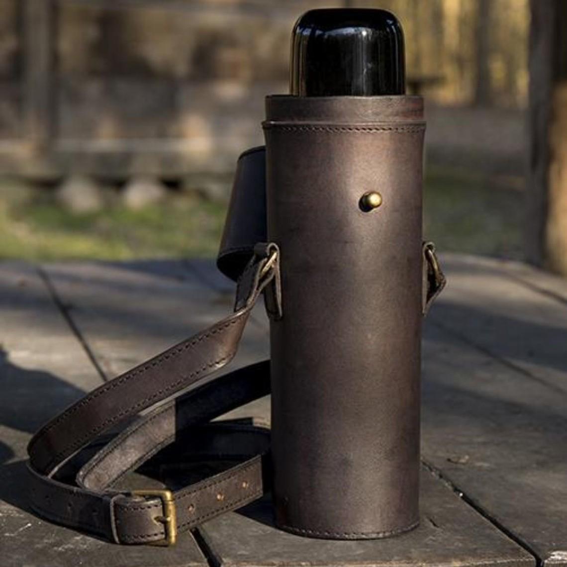 Epic Armoury Thermoskanne mit Lederhalter und Gürtel, schwarz