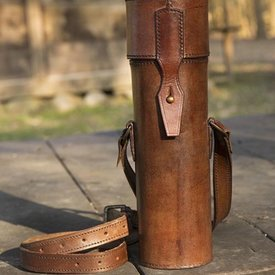 Epic Armoury Thermos flask with leather holder and belt, brown