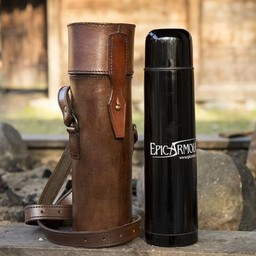 Thermos flask with leather holder and belt, brown