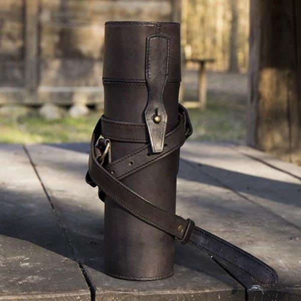 Epic Armoury Porta rotolo o bottiglia in pelle, nero