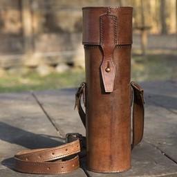 Leather scroll or bottle holder, brown