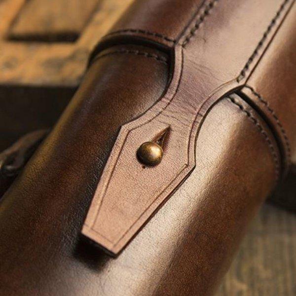 63b9ac6aba Leather scroll or bottle holder, brown - CelticWebMerchant.com