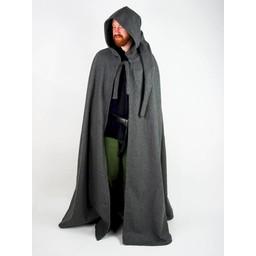 Capa medieval con capucha, marrón.