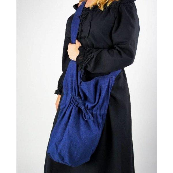 Textile shoulder bag, blue