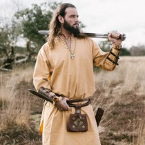 Historical tunic with authentic lining, honey brown