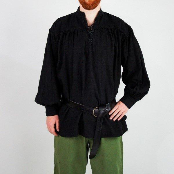 Leonardo Carbone Camisa medieval, negra.