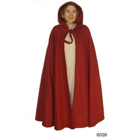 Leonardo Carbone Średniowieczny płaszcz z kapturem, czerwony
