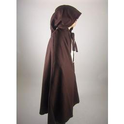 Medieval cloak with hood, brown