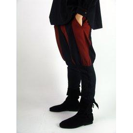 Pantaloni di Landsknecht Gustav, nero-rosso