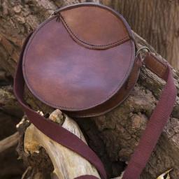 Okrągła skórzana torba, brązowa