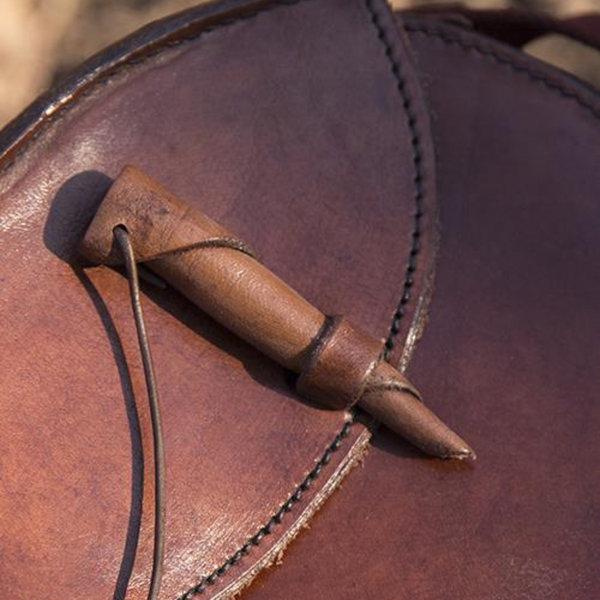 Epic Armoury Okrągła skórzana torba, brązowa