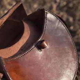 Bolso de cuero redondo, marrón