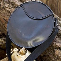 Okrągła skórzana torba, czarna