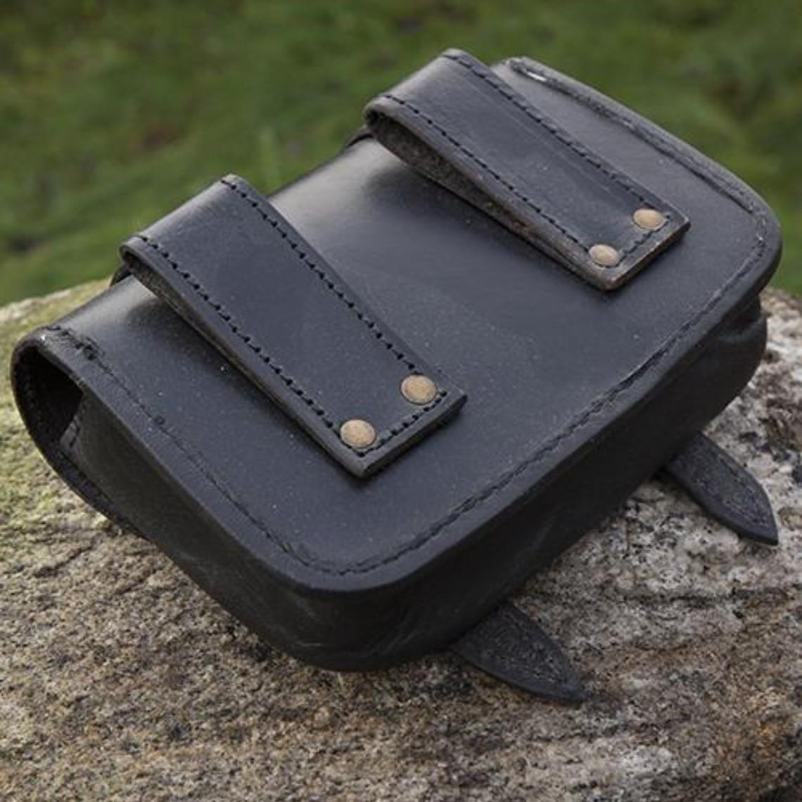 Epic Armoury Cinturón de cuero bolso Niccola, negro