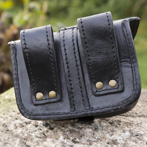 Epic Armoury Sac ceinture en cuir Agostino, noir