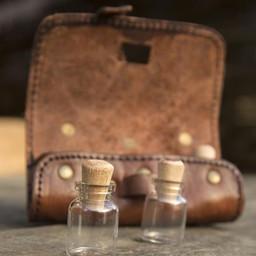 Porta pozioni con tre bottiglie, marrone