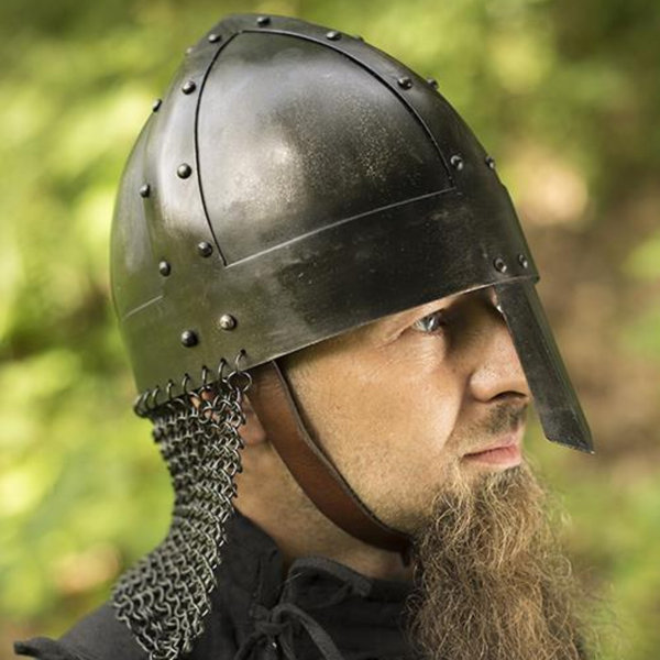Epic Armoury Viking spangenhelm med chainmail, mørk
