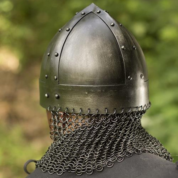 Epic Armoury Viking spangenhelm med chainmail, mörk
