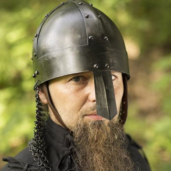 Epic Armoury Viking spangenhelm med chainmail, mørk