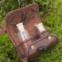 Potion holder with two bottles, brown