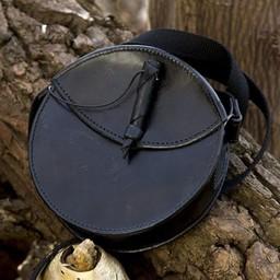 Round leather bag, black