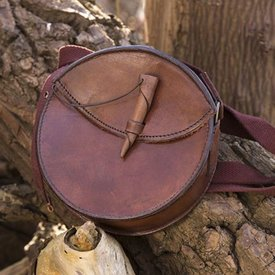 Epic Armoury Round leather bag, brown