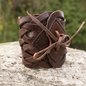 Epic Armoury Pulsera de piel trenzada, marrón.