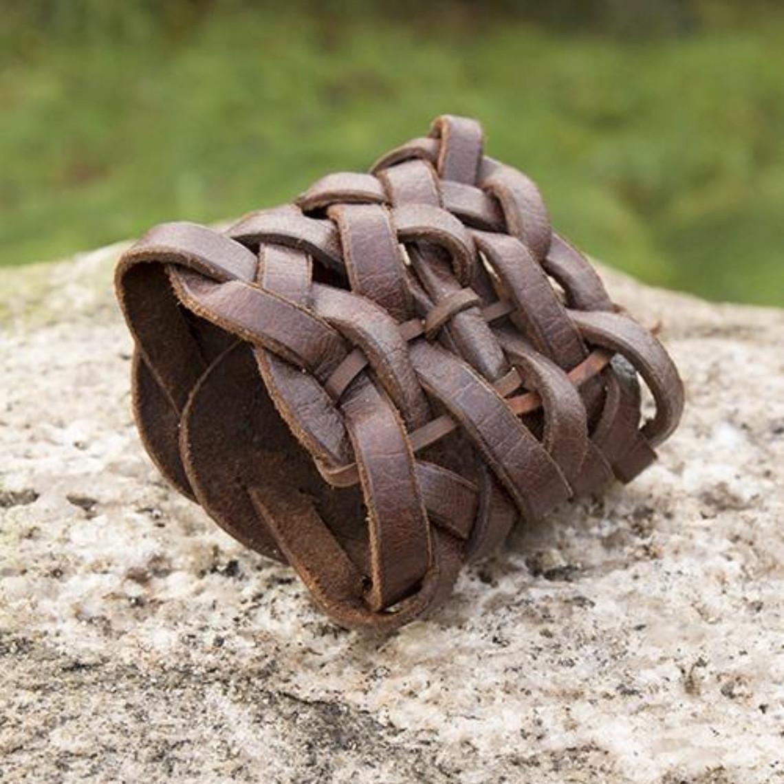 Epic Armoury Bracelet en cuir tressé, marron