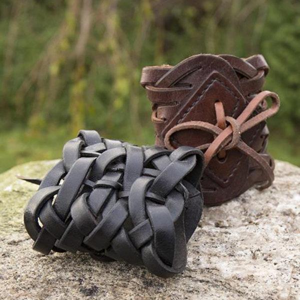 Epic Armoury Vævet læderarmbånd, brun