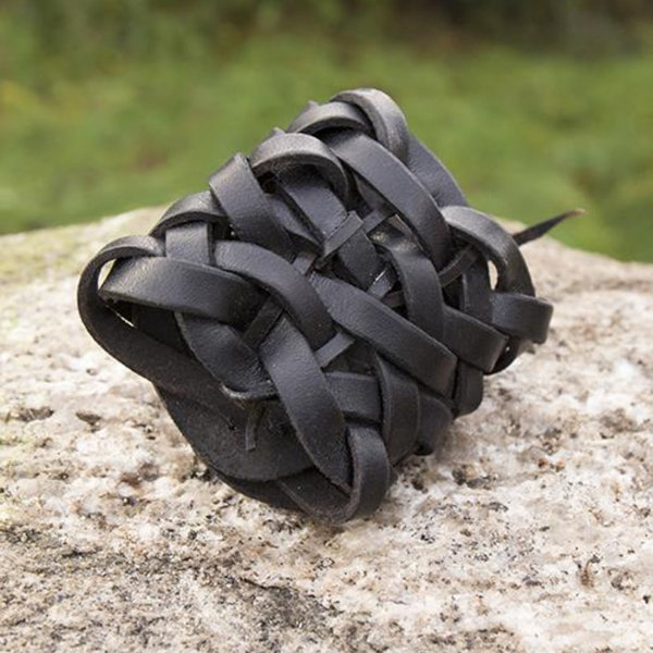 Epic Armoury Bracciale in pelle intrecciata, nero