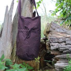 Tekstylna torba na ramię, brązowa