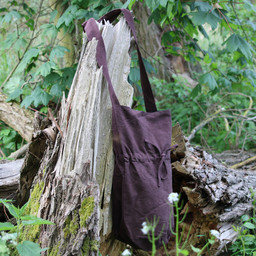 Textil axelväska, brun