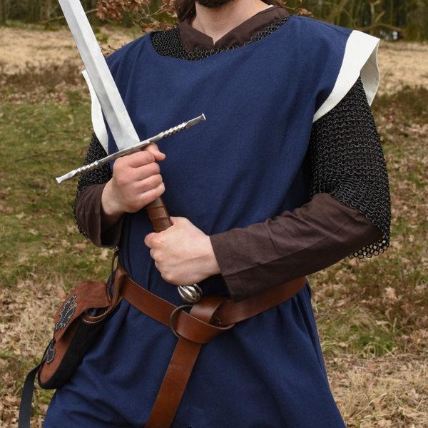 Średniowieczny płaszcz Rodrick, niebiesko-naturalny