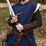 Sobretodo medieval Rodrick, azul natural.