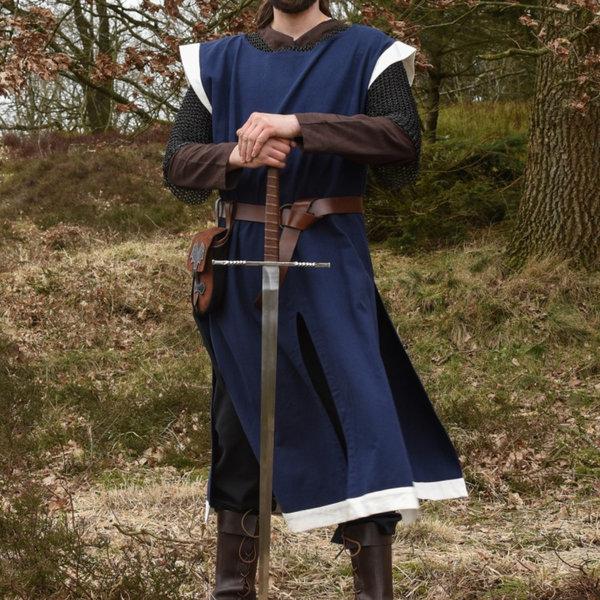 Mittelalterlicher Mantel Rodrick, blau-natur