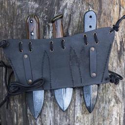 Supporto per cintura per 3 coltelli da lancio LARP, nero