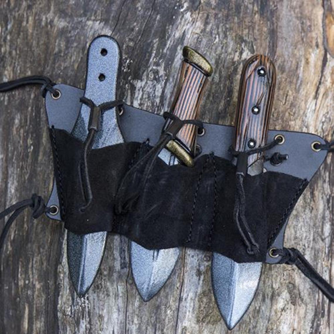 Epic Armoury Porte-ceinture pour 3 couteaux LARP, noir