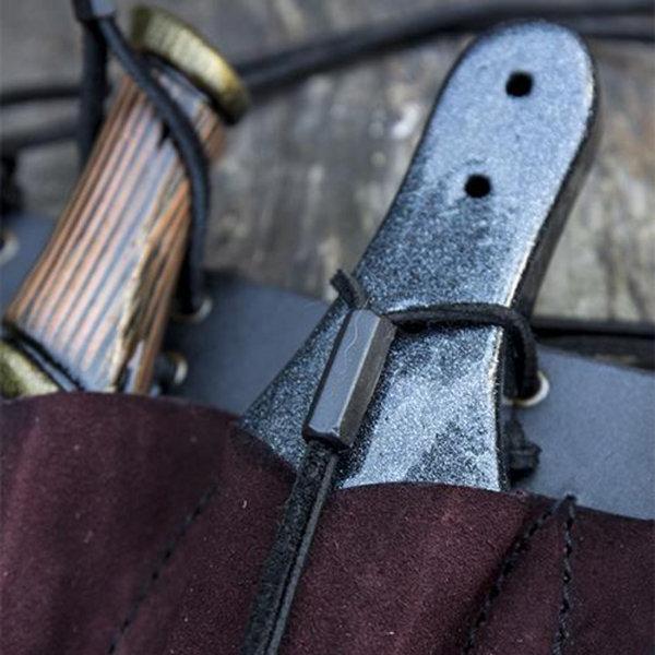 Epic Armoury Gürtelhalter für 3 LARP Wurfmesser, braun