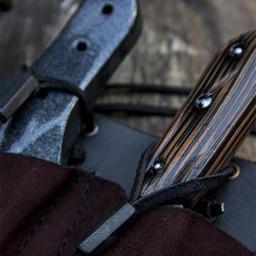 Gürtelhalter für 3 LARP Wurfmesser, braun