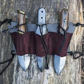 Epic Armoury Bälthållare för 3 LARP kasta knivar, brun