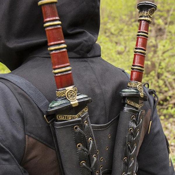 Epic Armoury RFB Dubbele LARP zwaardhouder, bruin-zwart