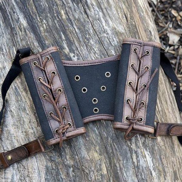 Epic Armoury RFB Double LARP sværdholder, brun-sort