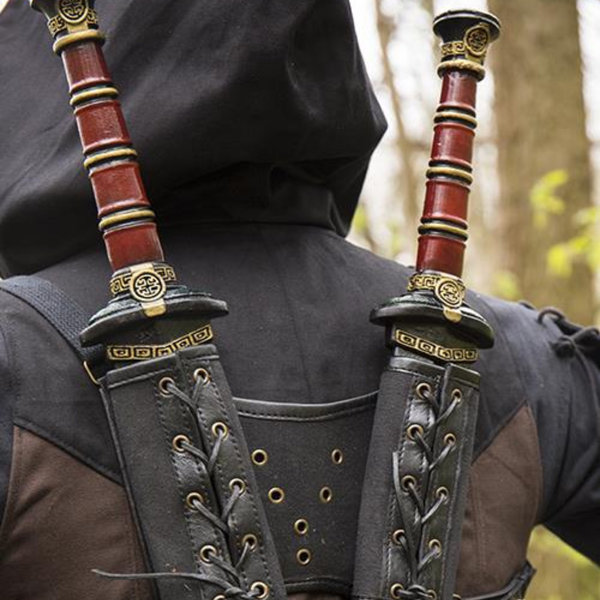 Epic Armoury RFB Dubbele LARP zwaardhouder, bruin