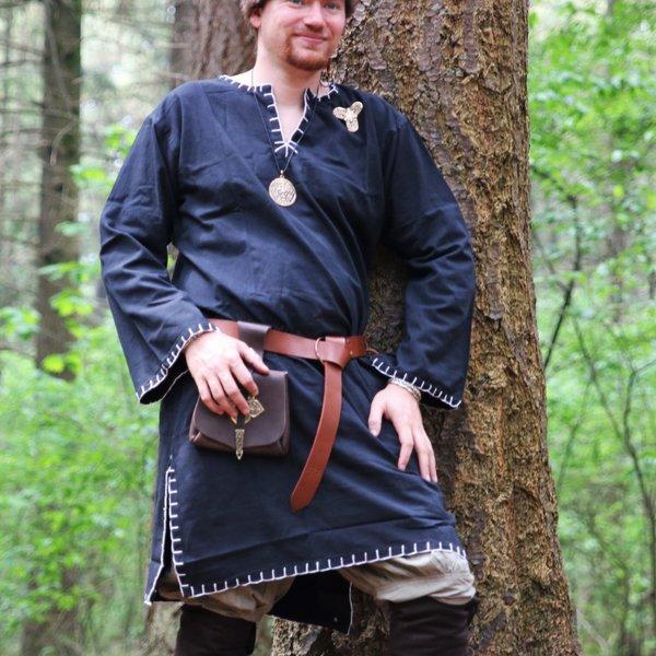 Leonardo Carbone Historyczna tunika z autentyczną podszewką, czarna